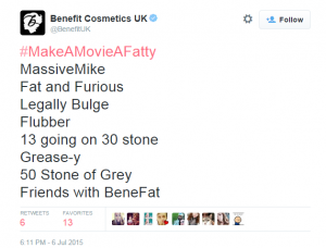 Benefit UK Tweet 1 - 9 Huge Branding and Marketing Mistakes that Beauty Companies Are Still Paying For - The Content Spa