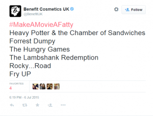 Benefit UK Tweet 2 - 9 Huge Branding and Marketing Mistakes that Beauty Companies Are Still Paying For - The Content Spa