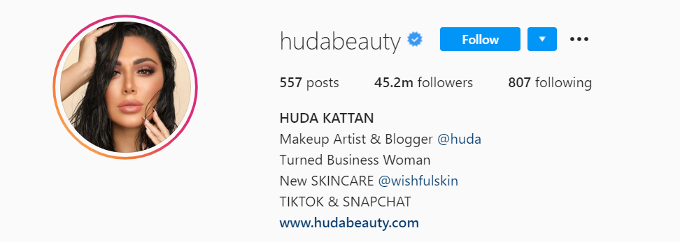 Huda Beauty Instagram Page - Beauty Marketing Tips to Learn from Huda Beauty - Content Spa